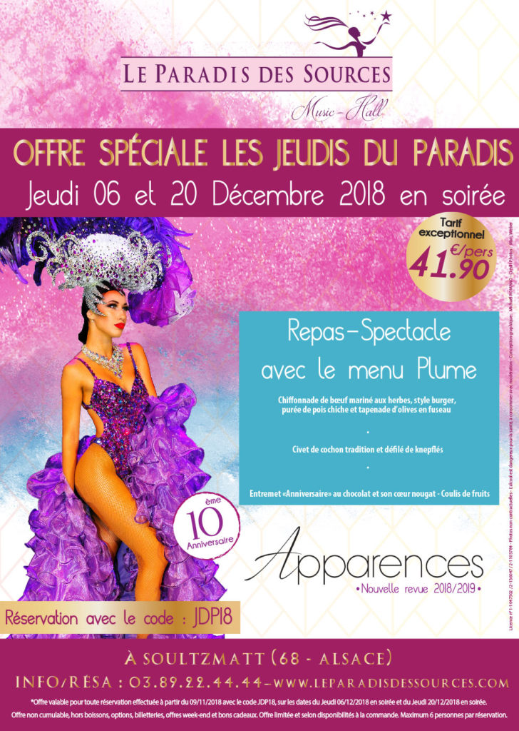 Offre Spéciale Promotion Code Réduction Repas-Spectacle Cabaret en Alsace